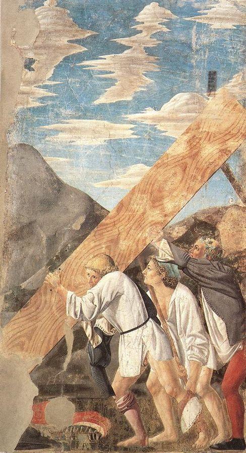 Sollevamento del legno della Croce, Пьеро делла Франческа, 1452 - Базилика Сан-Франческо в Ареццо.
