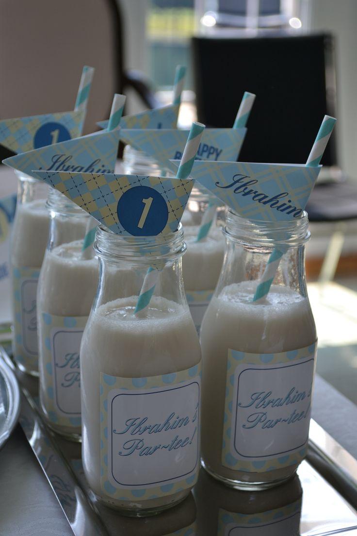 Glass milk bottles..