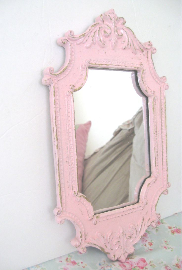 Pink Wall Mirror lg wall mirror shabby pale pink vintage 1970's very ornate hand