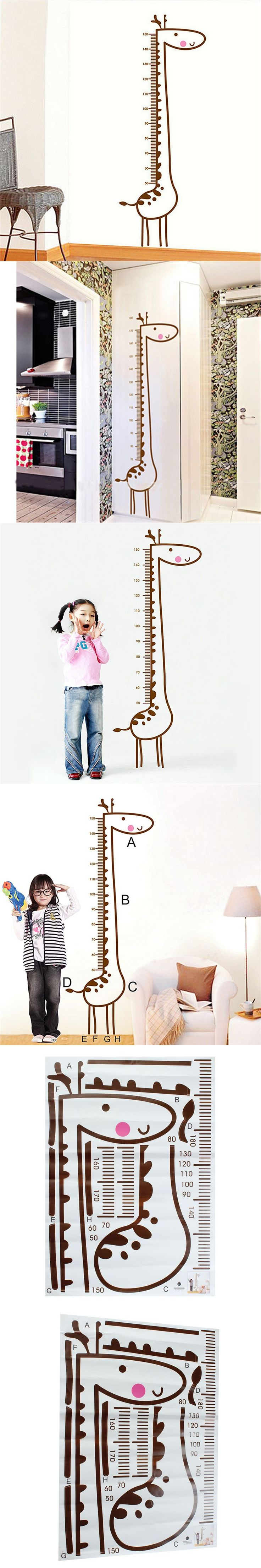 DIY Removable Giraffe Wall Sticker Kids Child Growth Chart Height Measure Home Kids Bedroom Decor Best Gift Free Shipping