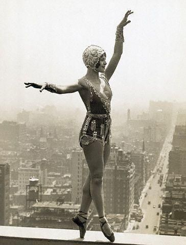 Lina Basquette, well known dancer and musical comedy star, rehearsing new steps for an upcoming production on a ledge of the roof of the Hotel Commodore, twenty-eight stories above 42nd Street, New York c. 1926. via Decaying Hollywood Mansions Facebook Page: http://www.facebook.com/pages/Decaying-Hollywood-Mansions/111378268883521