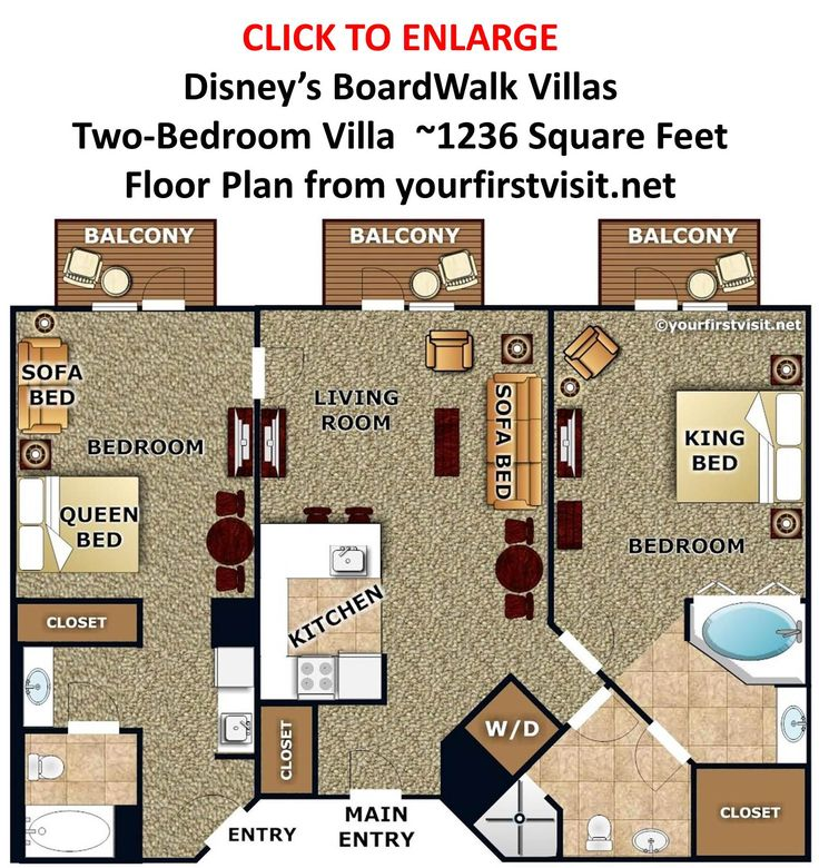 17 best disney floor plans images on pinterest disney vacation disneys boardwalk villas two bedroom villa floor plan from yourfirstvisit sciox Image collections