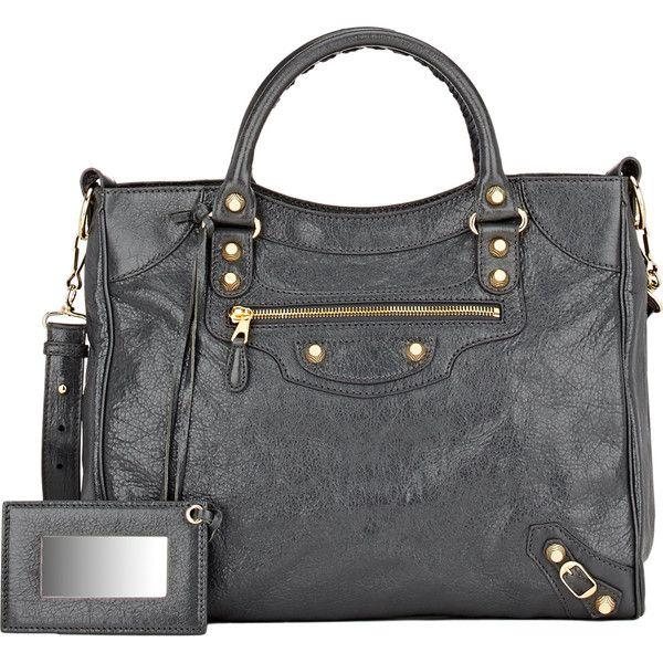 Balenciaga Giant Velo (33,365 MXN) ❤ liked on Polyvore featuring bags, handbags, grey, balenciaga bag, gray purse, studded bag, handle bag and grey handbags