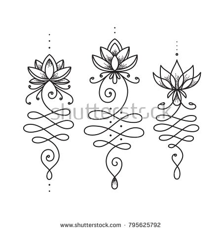Unalome lotus flower symbol. Buddhism life path si…