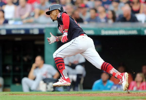 Cleveland Indians Francisco Lindor sprints to first on a single in the third inning against the Detroit Tigers. Indians won 11-2. July 7, 2017