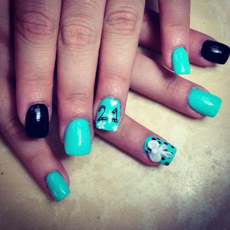 21st birthday nails design