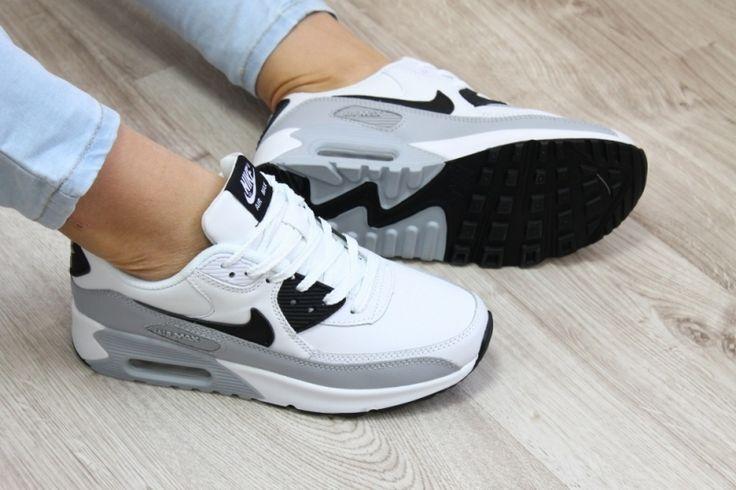 Женские кожаные кроссовки Найк Аир макс белый,черный,серый