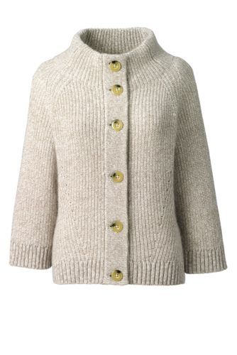 Women's+Wool+Blend+3/4+Sleeve+Cardigan+Sweater+from+Lands'+End
