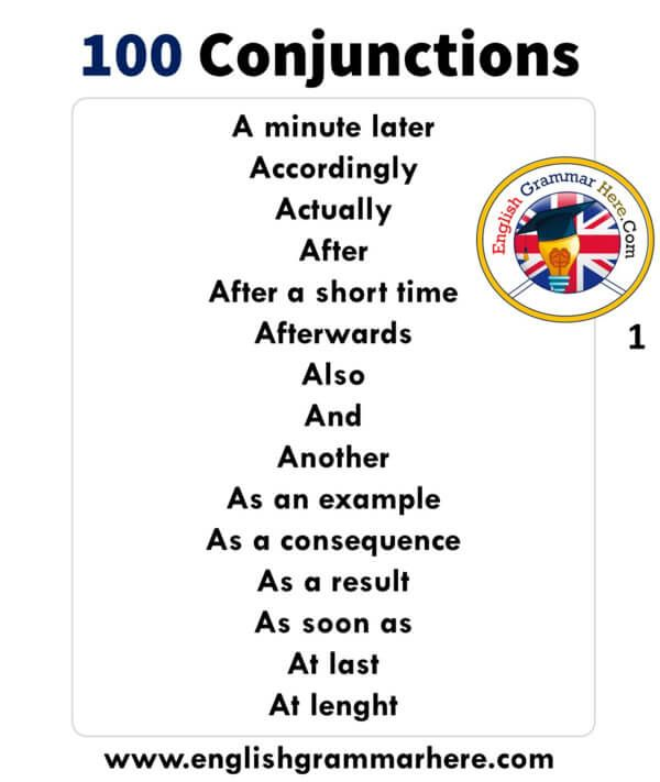 English Detailed Conjunctions List Example Sentences And Meanings
