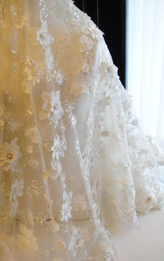 Ivory Lacewith 3 D flowers ,Bridal lace, Ivory with gold Beaded lace, vintage lace,