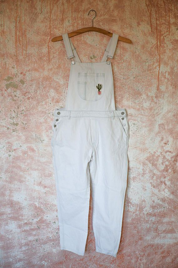 Upcycled White Woman Jumpsuit Romper Denim Patched Cactus Suculent Overall Jeans Denim Upcycled Recycled Fashion Slow Large size Loose Unique Rare Grunge Hipster Hippie Street