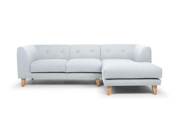 Adley Danish Style 2.5 Seater Designer Sofa with Chaise - Light Grey/Oak Legs