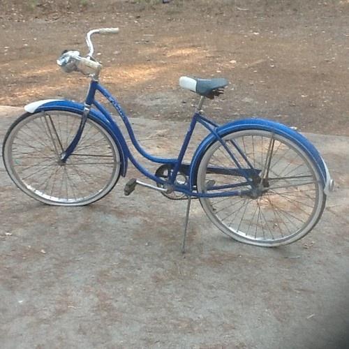 Schwinn 1950's bike. Mine was a Huffy, blue and my eighth birthday present.  Many happy hours.