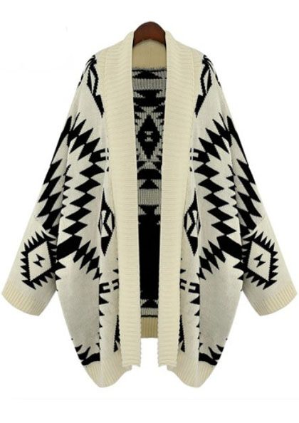 When it comes to sweaters this Autumn, I say the bigger the better!Apricot Batwing, Fashion, Long Sleeve, Aztec Cardigan, Geometric Cardigans, Cardigan Sweaters, Batwing Long, Sleeve Geometric, Cardigans Sweaters