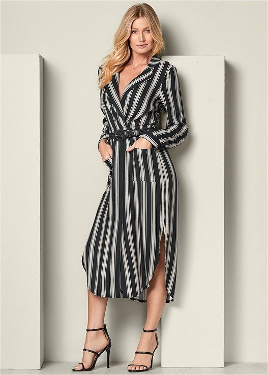 a5303f9aed Belted striped shirt dress