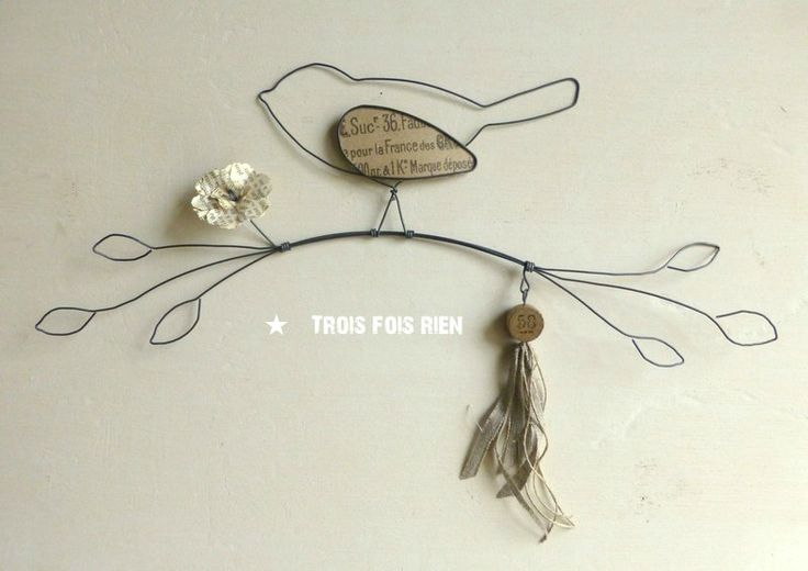 oiseau sur sa branche fil de fer d coration murale n 24. Black Bedroom Furniture Sets. Home Design Ideas