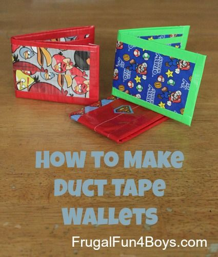 How to make duct tape wallets. (update: My kids enjoyed making these. However, we used the tutorial this gal links to on her site because it shows how to put the clear plastic card holder in the wallet which my kids wanted. Other than that part, both tutorials are the same.