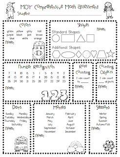 Kindergarten learning assessment sheets for all the standards