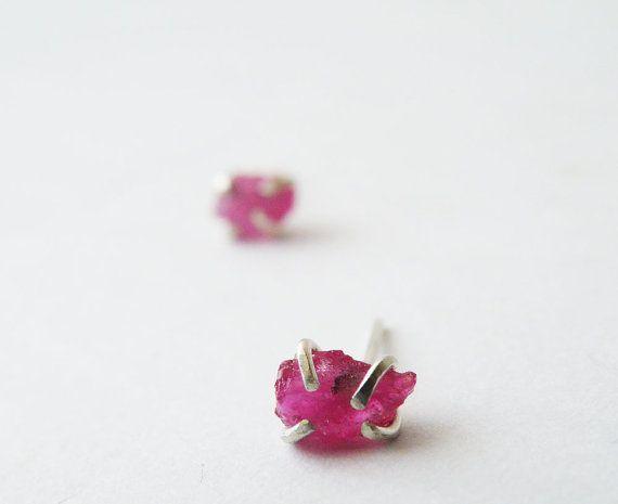 Rough Ruby Stud Earrings Sterling Silver Earrings by SteamyLab