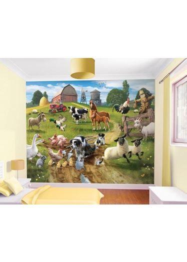 Farmyard Fun Mural http://www.childrens-rooms.co.uk/farmyard-fun-mural.html #farmwallmural #funonthefarm #bringtheoutdoorsindoors
