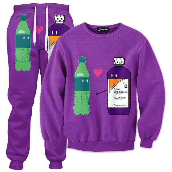 The best combination since butter and toast This age old codeine syrup and sprite combination make the ultimate purple drank Stay sippin that lean Our full print tracksuits are uniquely crafted using a special sublimation technique to transfer our