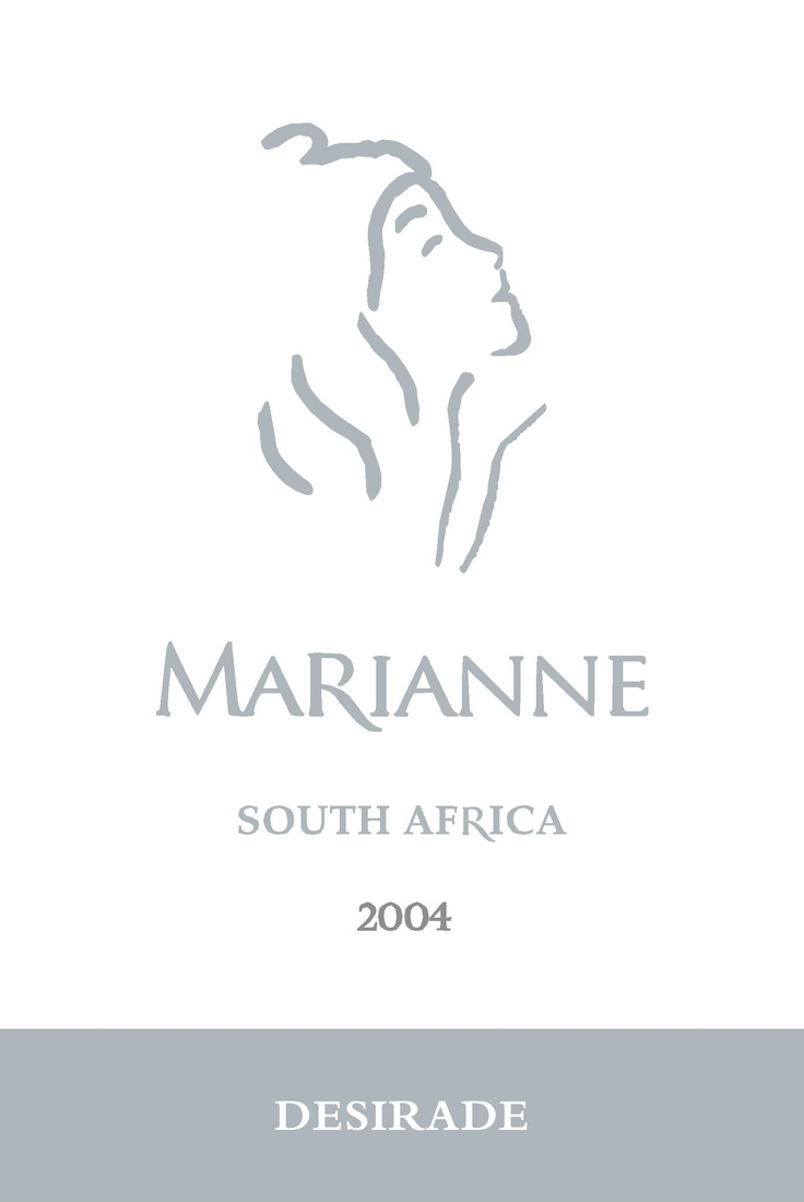 """Wine.   Wine Label.  South Africa.    Marianne Desirade 2004 Bordeaux Blend.  Stellenbosch.    Our """"First Lady"""".  The Maiden Vintage at Marianne Estate produces a Bordeaux Blend that will reveal itself only 7 years later.  Drinking beautifully.  Rounded and elegant with powerful fruit."""