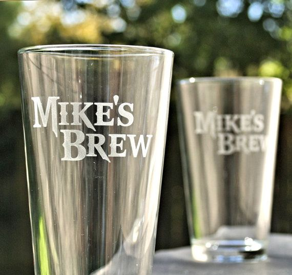 Personalized Pint Glasses, Beer Set of Pint Glasses,Etched glass with your design,Home Brew,Christmas Gift for Him, Man cave,Craft Beer on Etsy, $20.00