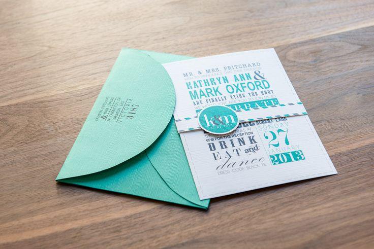 Poster style wedding invitation. Custom envelope to suit. Go to www.lovemytype.com.au
