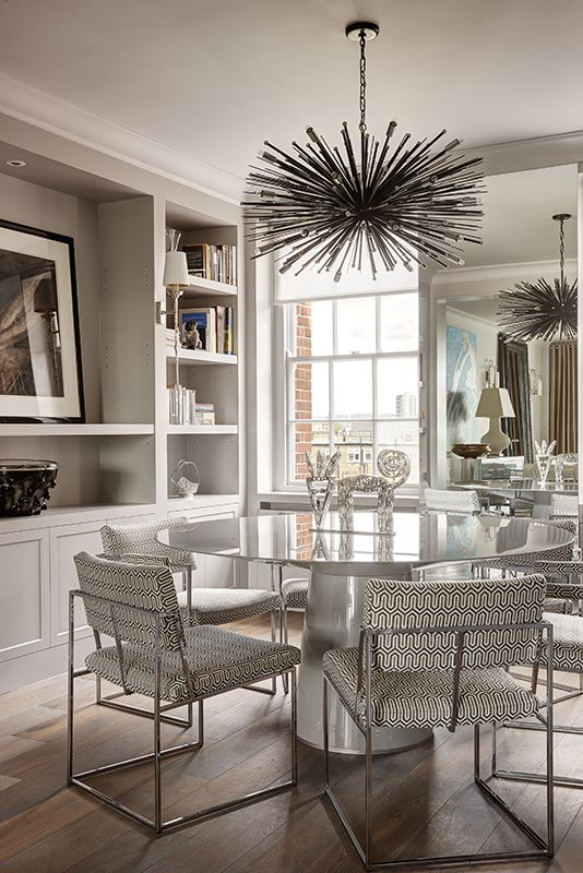 Modern Dining Room Elegant Interior Design Of Designs The With Artistic Shape Funky Italian Chandelier On Glossy White Slim Round