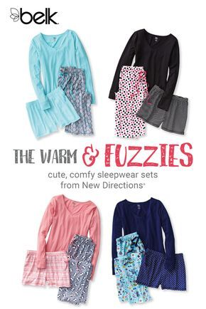 There's nothing like slipping into a brand new pajama set on a chilly winter's night. This holiday, give a set of New Directions® sleepwear to the woman on your list – she's sure to love the warm, long-sleeve tee and super comfy pajama pants in fun prints and colors. An added bonus: the set includes a set of matching, lounge-ready shorts. Shop New Directions® pajama sets in stores or at belk.com.
