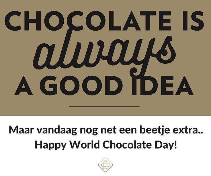 Hoera hetis #worldchocolateday of #internationalchocolateday.. Hoe dan ook: vandaagvieren wij chocolade met uiteraard veel chocolade! Want ja ook vandaag geldt: #chocolateisalwaysagoodidea