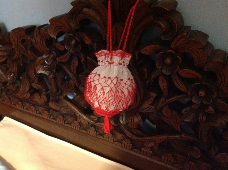 Regency inspired reticule. Cotton netting and crochet, cotton lining. Miss Galindo