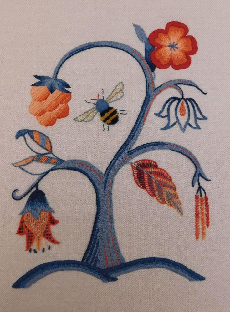 Jacobean Crewelwork by Certificate student Lisa Skirrow, Royal School of Needlework