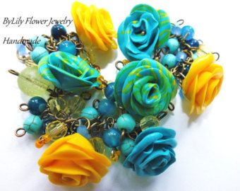"Summer Beaded Charm Turquoise Polymer Clay Bracelet ""Vintage"" with Natural Turquoise and Agate beads"