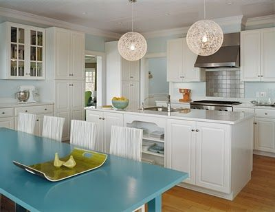 A Strong Robins Egg Blue Kitchen Table Grounds The Room As Airy Light