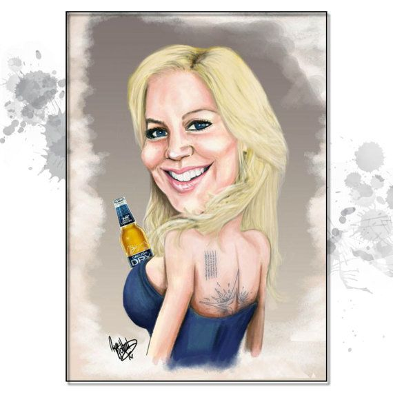These caricature gifts are lots of fun. Exaggerated to your liking- either Mild... or WILD! Get imaginative and make it as ridiculous as you like- check out a few of the samples in this gallery  All custom work is a one-of-a-kind illustration- just for you and created from scratch- You wont get any cookie-cutter caricatures, photo manipulation or images that looked like a computer app did all of the work.  Base Price includes: - 1 x Caricature sent electronically for you print to a size of…