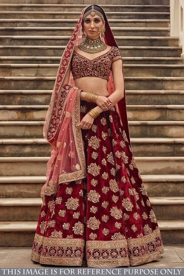 c996b358c Buy Bestseller Latest Designer Bridal Wear Maroon Taffeta Silk Lehenga With Taffeta  Silk Choli - DMV15588 for women online #Designerlehenga #Maroon ...
