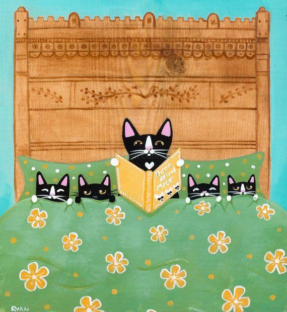 Mother's Bedtime Story and Kittens Original Cat Folk Art