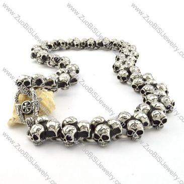 Motorcycle Chain Link Skull Necklace Huge in Stainless Steel -n000202 Item No. : n000202 Market Price : US$ 376.60 Sales Price : US$ 37.66 Category : Biker Skull Necklaces