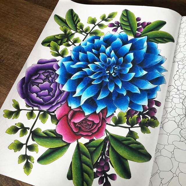 fleurs arttherapie fleurs flowers arttherapy rose blue gradient
