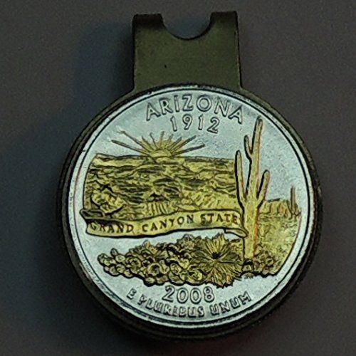 Arizona Statehood Quarter - Gorgeous 2-Toned Gold on Silver Coin - Ball marker - Hat clips