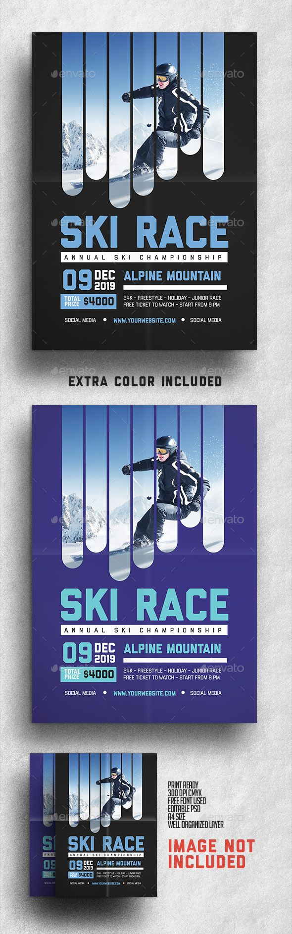 Ski Race Flyer Template PSD