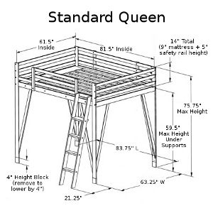 Build a Queen Loft Bed - our full size loft bed plans can be easily modified to hold a queen size mattress - just call us for details!