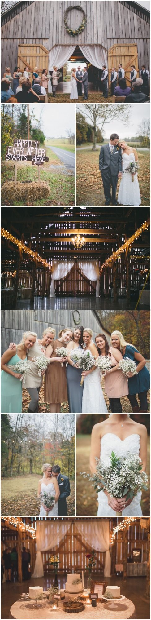 elegant-barn-wedding-- omg, this is everything i want, from the barn to the mismatched bridesmaids to the baby's breath bouquets.. ~B