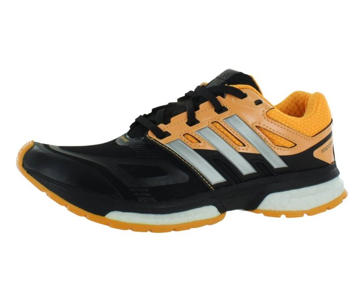 Adidas Response Boost Tech Fit Boys Running Shoes Size US 4.5, Regular Width, Color Black/Orange/Silver. Synthetic. rubber sole. fabric and Synthetic. TORSION® SYSTEM plate. Padded collar and tongue.