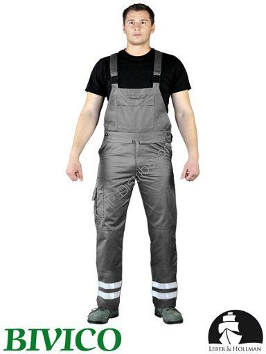 promocja! Szare spodnie robocze ogrodniczki z pasami odblaskowymi LH-BISTER_X