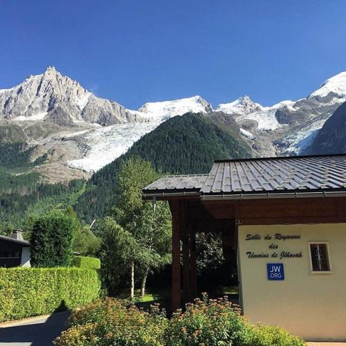 Kingdom Hall in Chamonix Mont Blanc, France at the foot of Mont Blanc. This little congregation has 36 publishers.