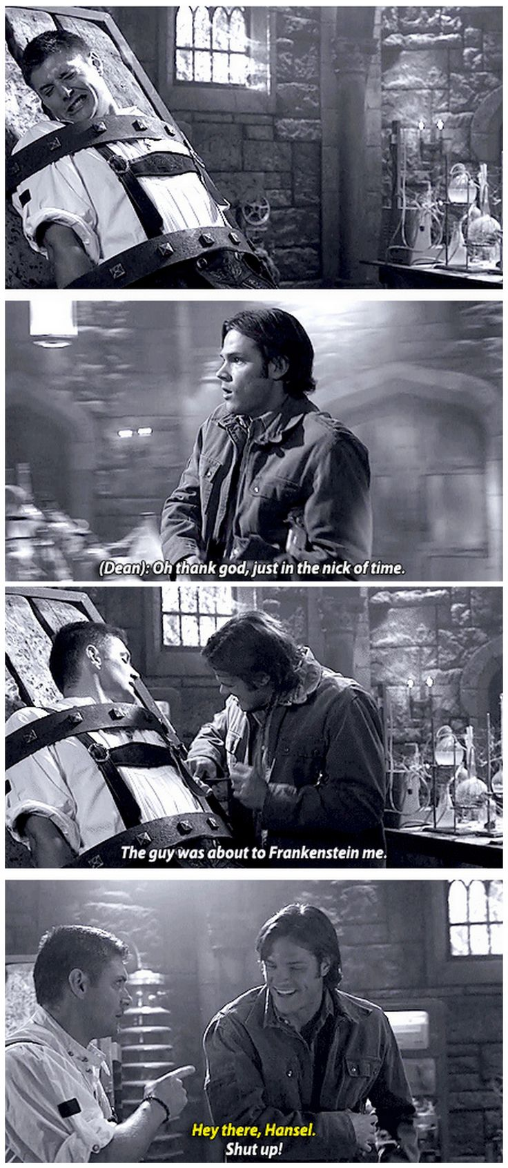[GIFSET] 4x05 Monster Movie - Hey there Hansel - Supernatural- Dean Winchester- Jensen Ackles