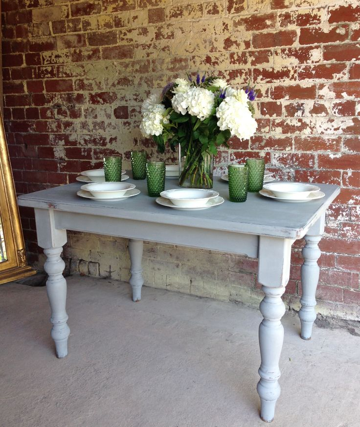 Sold - Painted Vintage Grey Kitchen Dining Table. www.sallywhitedesigns.com