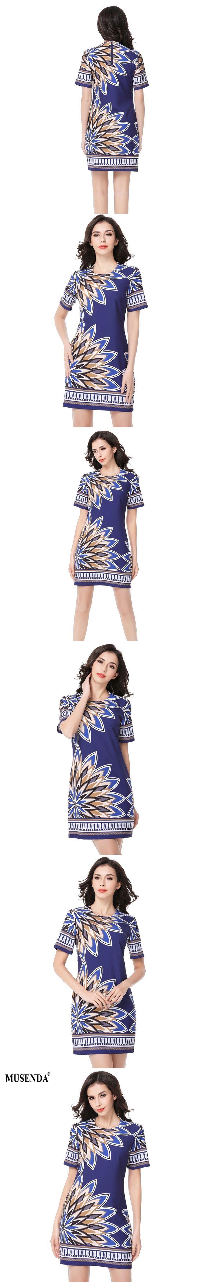 MUSENDA Women 2017 Summer Print Dress Navy Blue Short Dresses Lady Elegant Casual Fashion Party Office Dress Sundress Vestidos